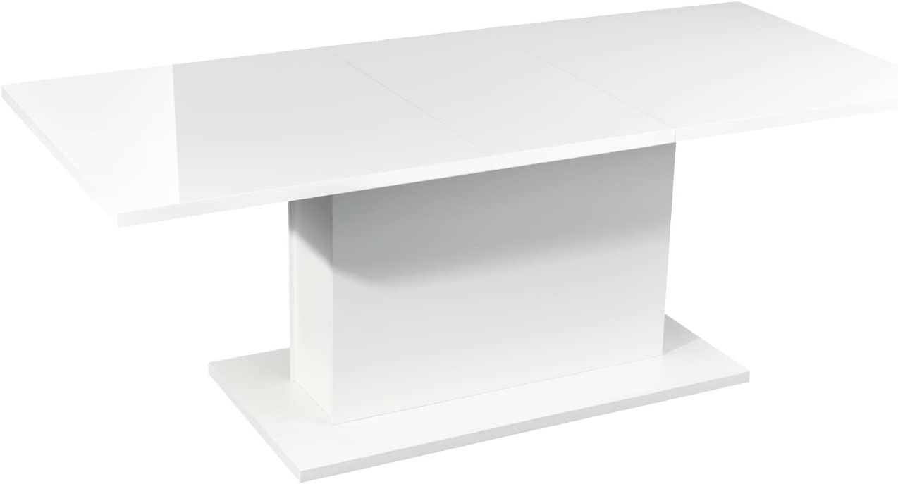 High Gloss White Extendable Rectangular Dining Table, Homy Casa Multifunction Space Saving Wood Table High Gloss White Top