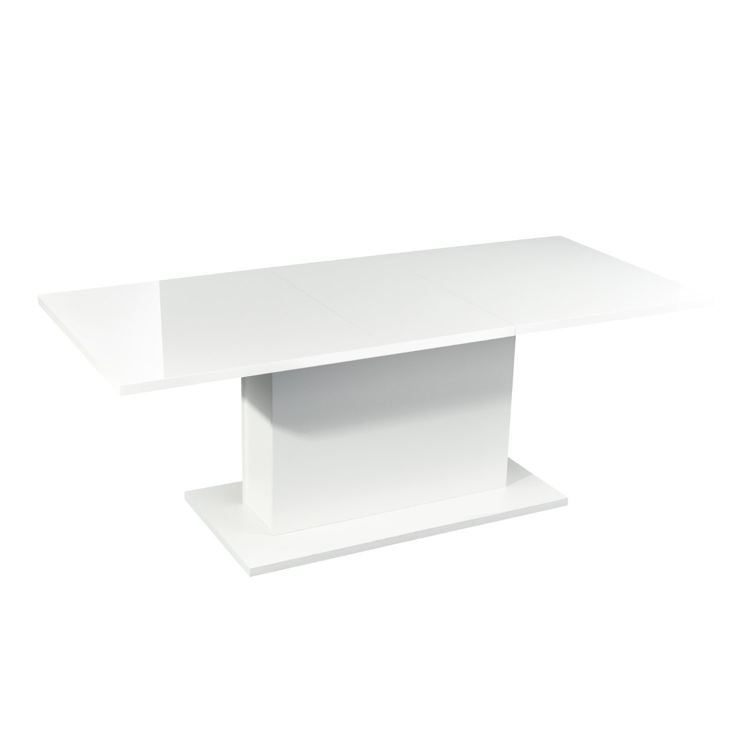 High Gloss White Extendable Rectangular Dining Table, Mltifunction Space Saving Wood Table (High Gloss White Top)