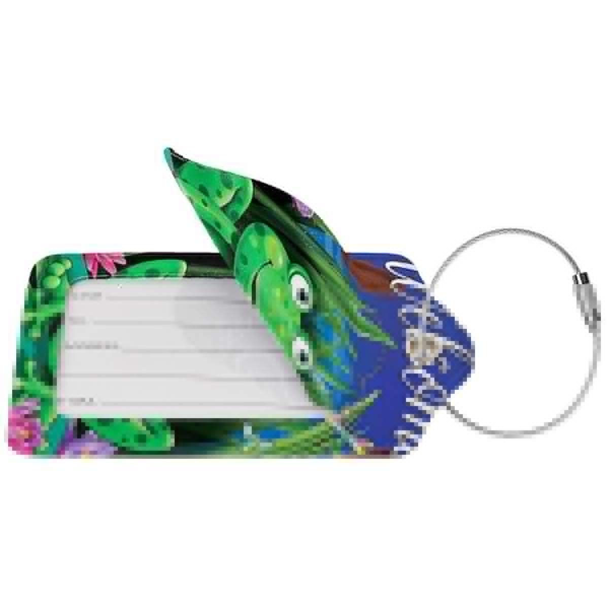Night Green Frog Welcome Leather Luggage Tags Personalized Extra Address Cards With Privacy Flap