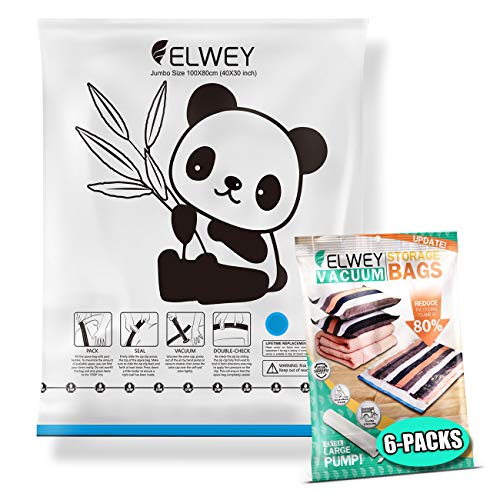 ELWEY Vacuum Storage Bags, Set of 6 Jumbo Size Space Bags with Panda Pattern for Bedding & Clothes with Improved Fast Hand Pump