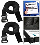 333 World - Strap 1 Inch Wide with Plastic Quick Release Buckle for Lashing Strap, Backpack, Camping, Sleeping Bag, Air Mattress, Luggage Straps, Automotive. Set of 2.