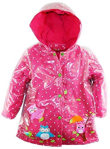 Wippette Little Girls' Vinyl Fleece Lined Owl Hooded Raincoat Jacket, Pink, 6X