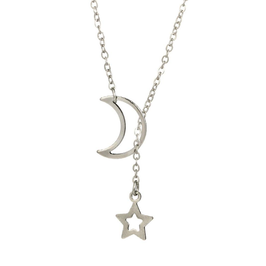 Women Fashion Long Chain Simple Alloy Moon Star Pendant Beauty Long Necklace 1PC