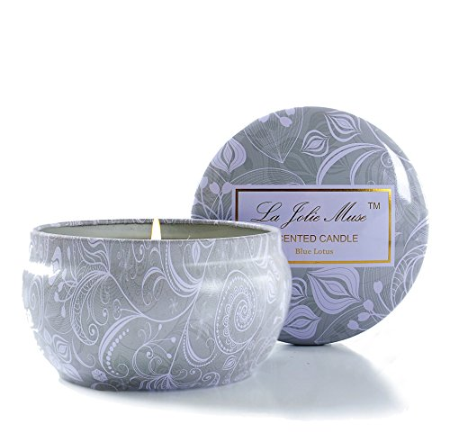 Soy Wax Travel Tin Candle (Scented Candles Blue Lotus Candle Soy Wax, 8.1oz Aromatherapy Stress Relief Travel Tins, Gifts for)