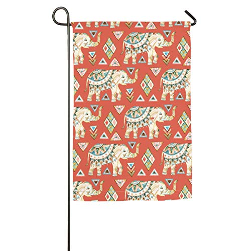 Private Bath Customiz India Traditional Bohemia Elephant Symbol Garden Yard Flag Welcome House Flag Banners for Patio Lawn Outdoor Home Decor]()
