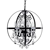 Cheap Luna Black Orb Chandelier, Metal Round Sphere Plug-In 5 Light Swag Glass Crystal Pendant Globe Ceiling Lighting Fixture Lamp