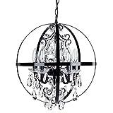 Luna Black Orb Chandelier, Metal Round Sphere Plug-In 5 Light Swag Glass Crystal Pendant Globe Ceiling Lighting Fixture Lamp