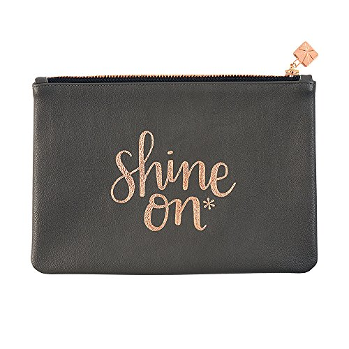 Erin Leather (Erin Condren Pencil Pouch - Metallic Quote Clutch (Shine On))