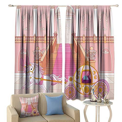 Teen Girls Decor Collection Decor Curtains Fairytale Carriage with Ornamental Details Stopped at The Door of Palace Pattern Home Garden Bedroom Outdoor Indoor Wall Decorations from cobeDecor