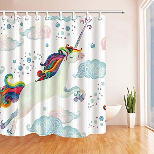 NYMB Watercolor Fairy Tale with Flying Unicorn for Kids Shower Curtain 69X70 inches Mildew Resistant Polyester Fabric Bathroom Fantastic Decorations Bath Curtains Hooks Included (Multi13)