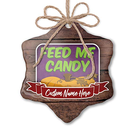 NEONBLOND Custom Family Ornament Feed Me Candy Halloween Pumpkin Top Personalized Name -