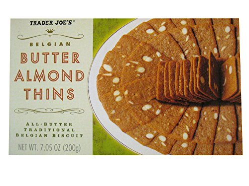Almond Thins (2 Packs Trader Joe's Belgian Butter Almond Thins 7.05 oz)