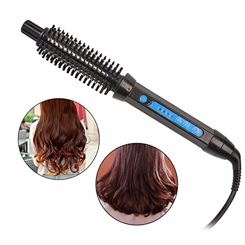 2 in 1 Hair Curling Iron Brush Hot Hair Brush Ceramic Ionic Anti-scald Hair Curler/Roller/Straightener Styling Brush Curling Wand Comb Dual Voltage by Wangmeili
