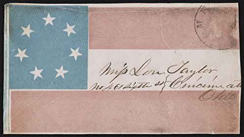 Historic Photos 1861 Photo Envelope showing Confederate flag, addressed to Miss Lou Taylor, No. 461 Sixth St, Cincinnati, ()