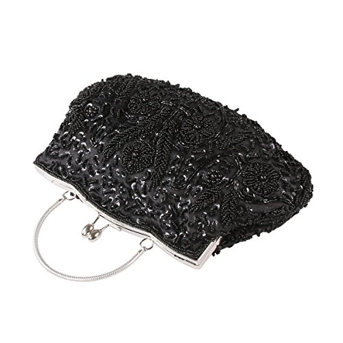 Handbag Gift Seed Sequined Leaf Sequin Bead Bag Soft Ideas Bead Evening Floral Collection Clutch Seed Clutch VENI Black Various Evening Colors Exquisite MASEE Antique wxfUUqH