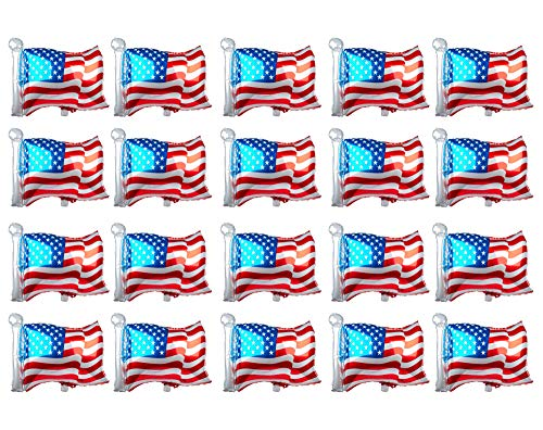 SummitLink Pack of 20 American Flag Balloons PE Helium Foil Balloon Mylar (Rectangular Shaped 25