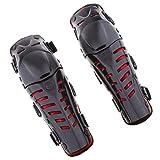 MagiDeal Knee Pads, Adjustable PE Long Leg Sleeve Gear Crashproof Antislip Protective Shin Guards for Motorcycle Mountain Biking-1 Pair Red