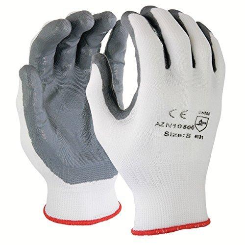 Azusa Safety N10500 13 gauge Knit Nylon Work Safety Gloves, Nitrile Coated Smooth Flat Finish X-Large 10