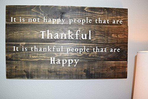 Thankful Sign - Wood Wall Décor - Wood Sign Sayings - Rustic (Country Life Black Walnut)