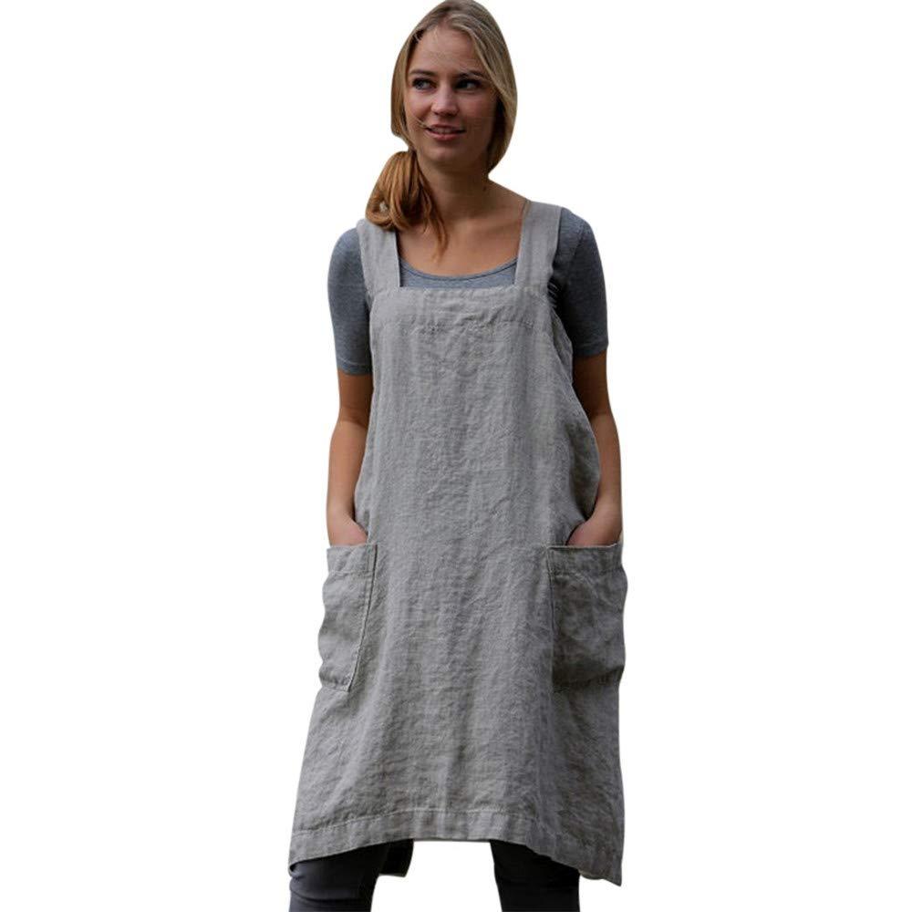 ❤️Women Plus Size Pinafore Dress, Cotton Linen Casual Pinafore Apron Garden  Work Dresses