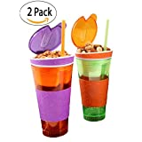 Kids Travel Cups Snackeez Travel Mugs - 16 oz. Tumbler Cup with Snack Container Inside, 1 Orange/Green, 1 Purple/Orange (2 Pack)