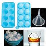 NEW Round Ice Balls Maker Tray 8 Sphere Molds Cube Whiskey Cocktails Party