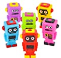 """Mini Robot Buddies 2.75"""" - 24 Pack and 1 Vortex Eraser - Party Favors, Prizes, Stocking Stuffers, Easter Baskets"""