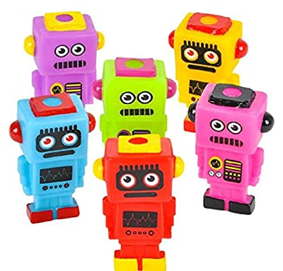 "Mini Robot Buddies 2.75"" - 24 Pack and 1 Vortex Eraser - Party Favors, Prizes, Stocking Stuffers, Easter Baskets"