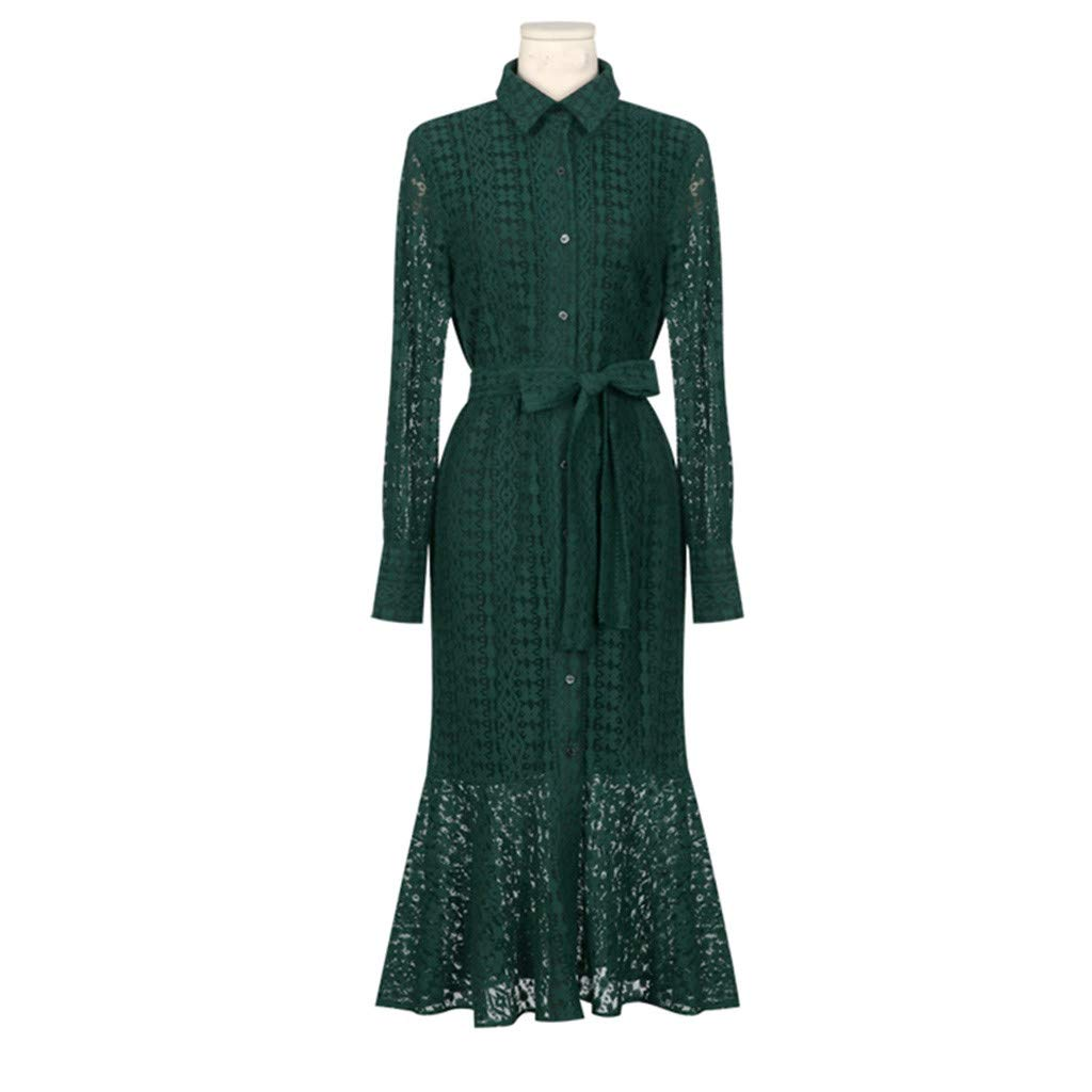 Women Ladies Office Lace Sexy Long Sleeve Tie Up Button Down Mermaid Flare Dress Green by LUXISDE (Image #7)