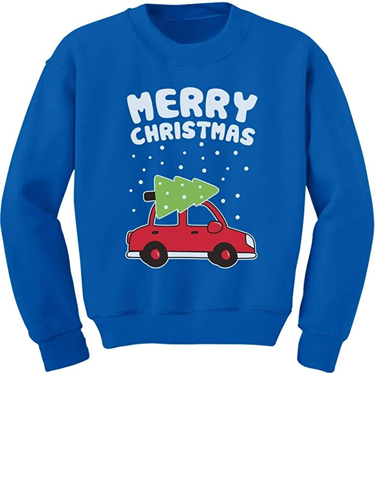 TeeStars - Merry Christmas Xmas Tree on Car Cute Xmas Toddler/Kids Sweatshirts 5/6 Blue GhPhr0rgf5P0f59M/Z