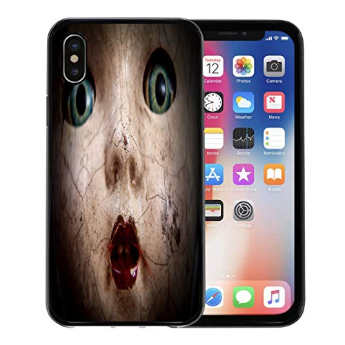 (Semtomn Phone Case for Apple iPhone Xs case,Horror Scary Cracked Old Doll Face Shallow Focus Antique Halloween Abuse for iPhone X Case,Rubber Border Protective)