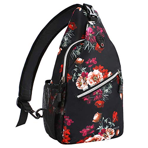 (MOSISO Rope Sling Backpack (Up to 13 Inch), Multipurpose Crossbody Chest Shoulder Outdoor Travel Hiking Daypack with Printed Pattern, Cottonrose)