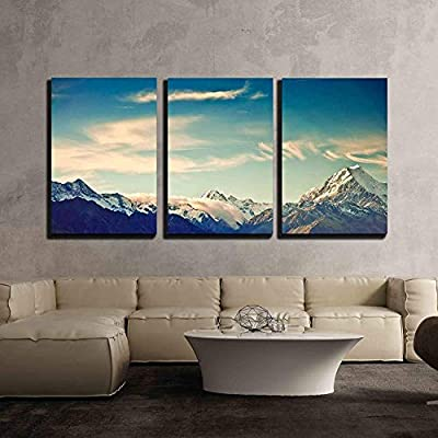 Original Creation, Wonderful Object of Art, New Zealand Scenic Mountain Landscape Shot at Mount Cook National Park x3 Panels
