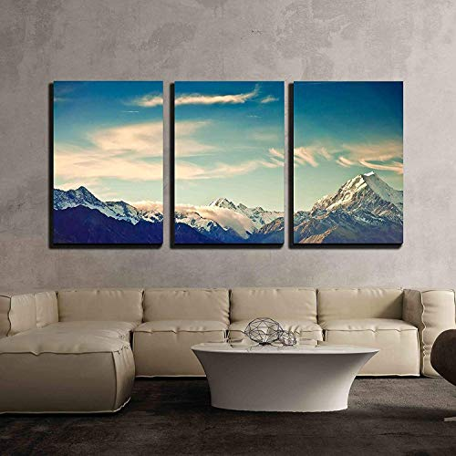 - wall26 - 3 Piece Canvas Wall Art - New Zealand Scenic Mountain Landscape Shot at Mount Cook National Park. - Modern Home Decor Stretched and Framed Ready to Hang - 16