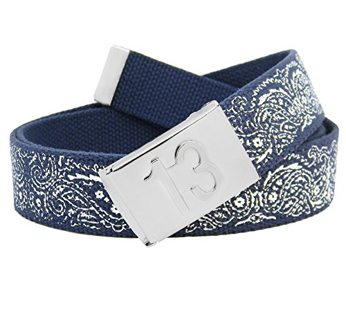 Men's Embossed 13 Silver Flip Top Buckle with Printed Canvas Web Belt XXX-Large Navy Bandana Print