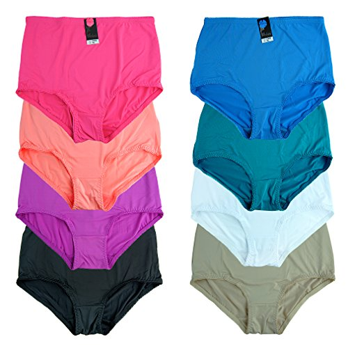 Basico Women's Plus Size 12-pair Nylon Brief Panties 12 Pack (2XL) Assorted Colors