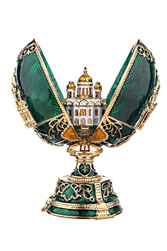 danila-souvenirs Russian Faberge Style Egg with Moscow Christ the Saviour Cathedral green 4.7