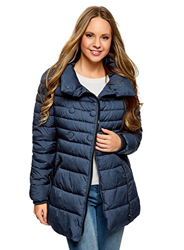 oodji Ultra Women's Quilted Zipper Jacket with Decorative Buttons Blue (7900n)