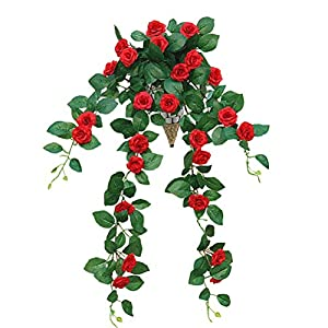 Lopkey Lifelike Silk Artificial Hanging Flower Artificial Rose Rattan Outdoor Wall Garden Decoration,Red 45