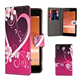 32nd® Design book wallet PU leather case cover for Sony Xperia Z3 Compact mobile phone - Love Heart
