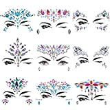 BBTO 9 Sets Mermaid Face Jewels Stickers Colorful Rhinestone Temporary Tattoo Tears Gem Face Rocks Festival Face Body Jewels for Face Decorations