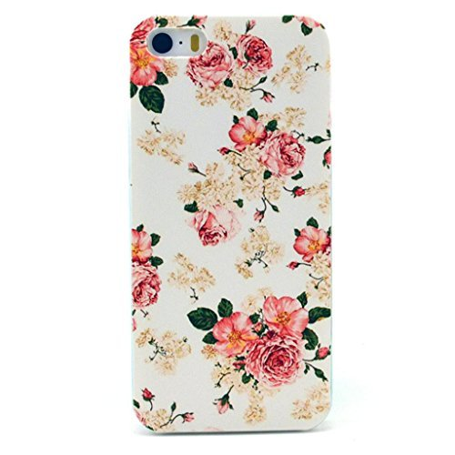 Iphone 5c Case, JAHOLAN Pink Flower Clear Bumper TPU Soft Case Rubber Silicone Skin Cover for iphone 5C