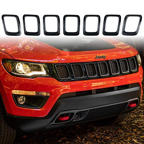 XBEEK 7PCS Gloss Black Grille Grill Cover Inserts Frame Trims Kit for 2017-2019 Jeep Compass