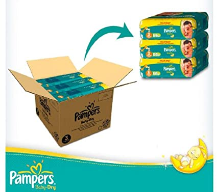 PAMPERS Pañales Baby-Dry Talla 3 midi (4-9 kg) - Pack
