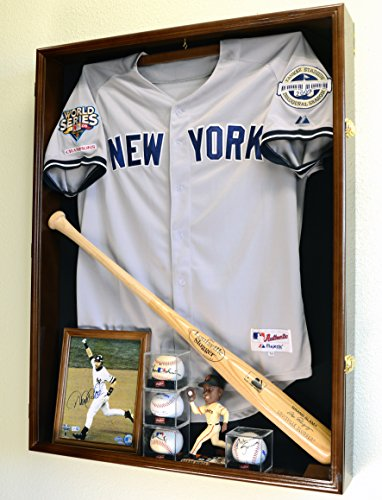 Sports Jersey Display Case Select Your Size 98% UV Lockable 3 Sizes to Choose Uniform Jacket Frame (Walnut Wood Finish, Extra Deep Jersey=38x29x4.75)
