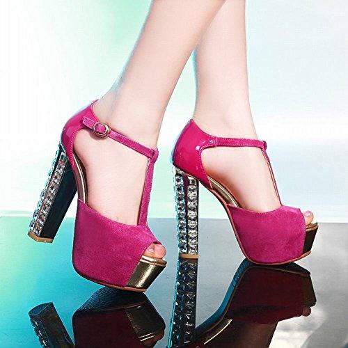 Toe Carolbar Soir Rouge Rose Plate Haut T Sandales Talon Peep De forme Femmes bracelet Super Chic frzxwfaq1