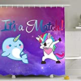 Purple Shower Curtains - Dabbing Unicorn and Cute Narwhal Dab Dance Match Bath Curtain - Waterproof Polyester Fabric Bathroom Decor Set with Hooks - 60'' x 72''
