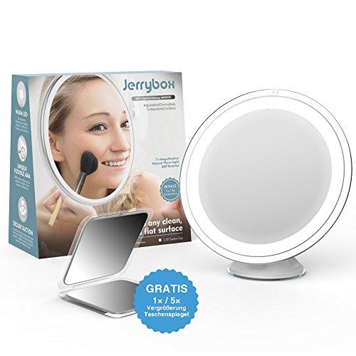 Jerrybox Schminkspiegel mit Beleuchtung 360° Rotation Kosmetikspiegel mit 7-Facher Vergrößerung, LED Beleuchteter Makeup Spiegel, Verstellbar, Dimmbar, Zusammenklappbar, Batteriebetrieb, Rund, GRATIS Taschenspiegel (1X/5X Vergrößerung)