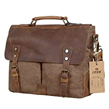 S-ZONE Fashion Canvas Genuine Leather Trim Travel Briefcase Laptop Bag (Coffee)