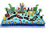 Super Mario Brothers Mega Deluxe 50 Piece Huge Game Scene Birthday Cake Topper Set Featuring Mario and Friends and Decorative Accessories